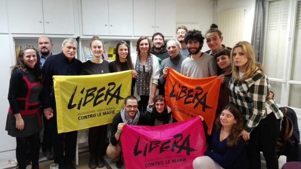 Don Luigi Ciotti, președintele Libera, împreună cu membri CHANCE la prima întâlnire din 2016, la Paris